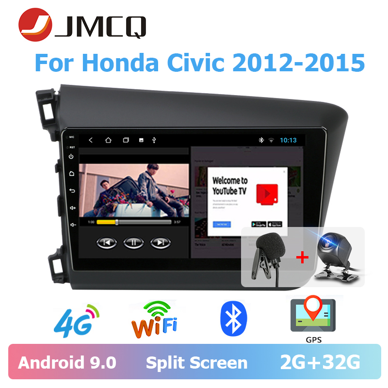 JMCQ For Honda <font><b>Civic</b></font> 2012-2015 Car Radio Split Screen Video output Android 9.0 Multimedia Video Player Stereo 2 Din Head unit image