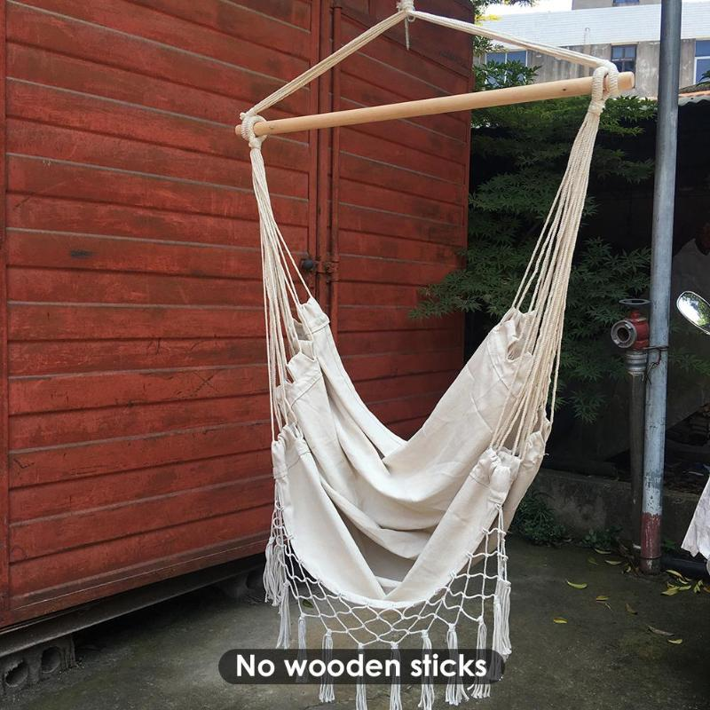 Outdoor Portable Bohemia Style Hammock Chair Beige Cotton Rope Net Swing Rope Balcony Indoor Garden Tree Hanging Chair hamaca