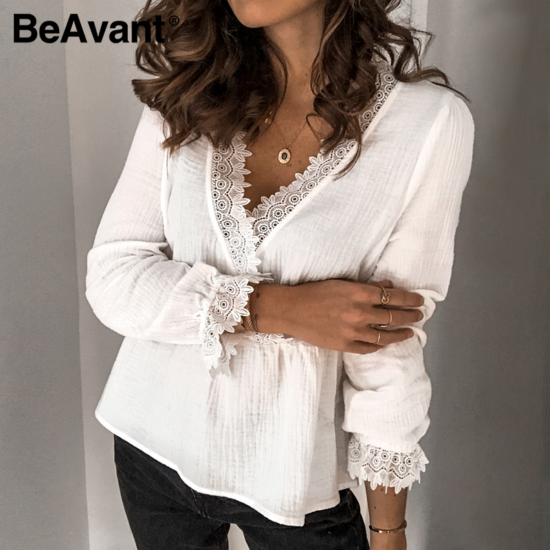 BeAvant Hollow Out Casual White Tops Blouses Women 2020 Spring Summer Lace Elegant Shirts Boho Ladies V Neck Sexy Blusa Ruffles