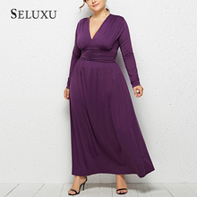 Seluxu 2019 New Autumn Plus Size Women Dress V-Neck Sexy Dress Long Sleeve Solid Color White Dress Large Size Elegant Dress women s chic v neck long sleeve pure color plus size dress