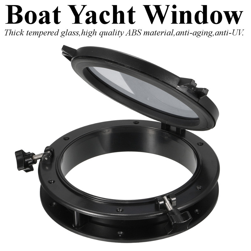 10 Inch 26cm Black Marine Boat RV Porthole Plastic Round Hatches Port Lights Window Boat Yacht Round Opening Portlight Window
