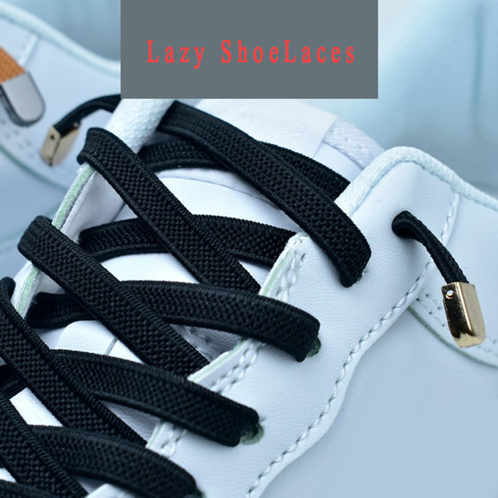 1 Pair Unisex Wild Free Tie Elastic Shoelaces Solid Color Lazy Shoelaces Flat 4 Metal Buckles Shoe Lace Casual Sneakers Shoelace