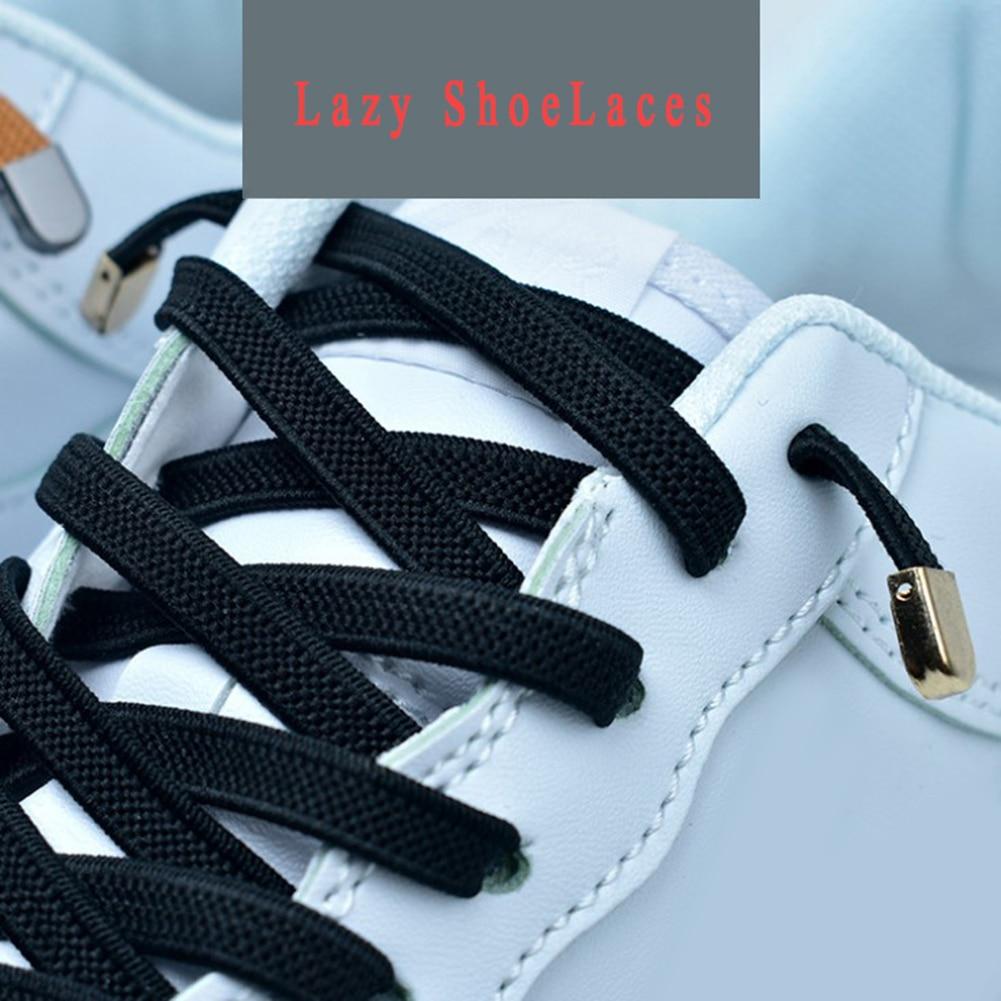 1 Pair Unisex Wild Free Tie Elastic Shoelaces Solid Color Lazy Shoelaces Flat 4 Metal Buckles Shoe Lace Casual Sneakers Shoelace