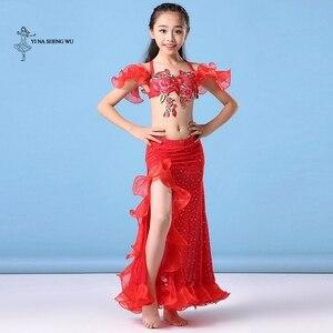 Image 2 - Dziewczyny brzuch kostium taneczny najnowszy 2 sztuk/zestaw biustonosz + spódnica odzież Bellydance dzieci orientalny spektakl taneczny taniec dla dziecka