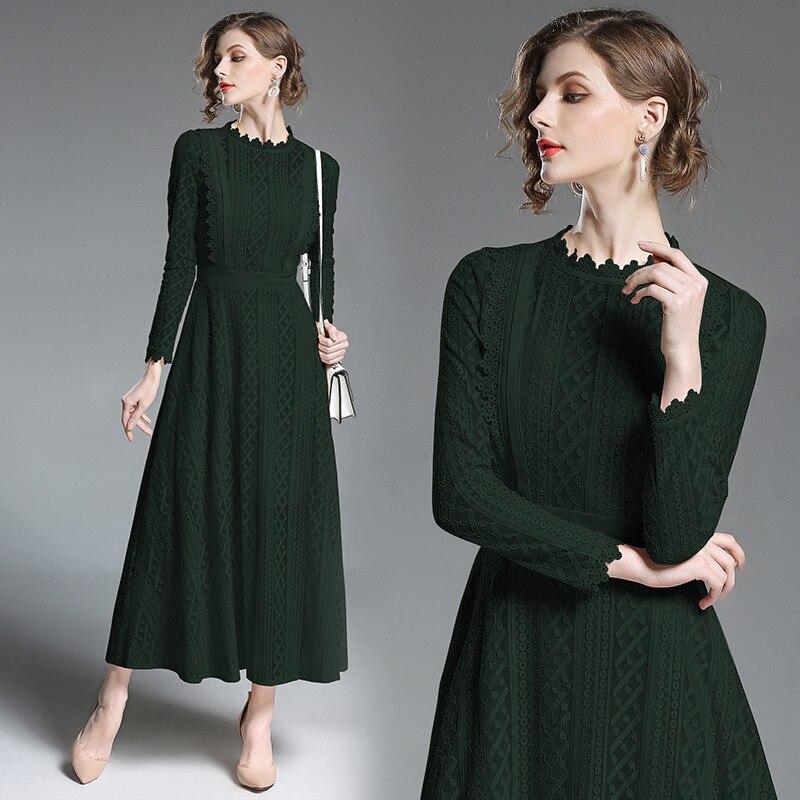 Long Slim Lace Evening Dress Dark Green A-Line  O-Neck  Vintage  Prom Dress Elegant  Robe De Soiree