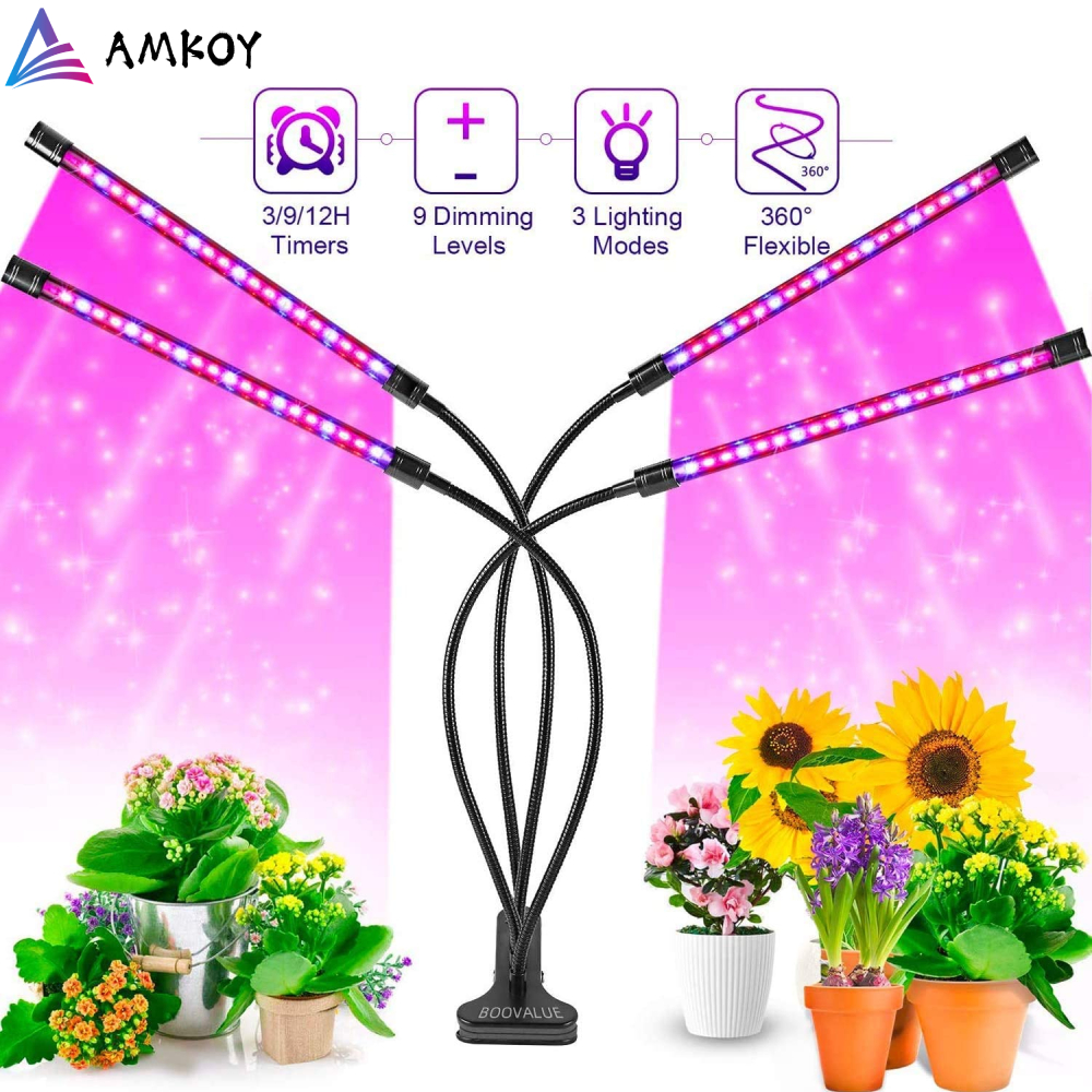 AMKOY LED Grow Light Full Spectrum Flexible Clip Phyto Lamp 5V USB 40W 20W Grow Lamp for Plants Seedlings Indoor Growth Lamp