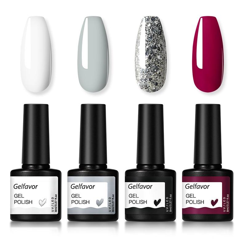 Gelfavor Gel Nail Polish Set Hybrid Varnishes 4/6Pcs Base Top For Nails UV LED Lamp Gel  Kits Manicure Nails Gel Polish Set 7