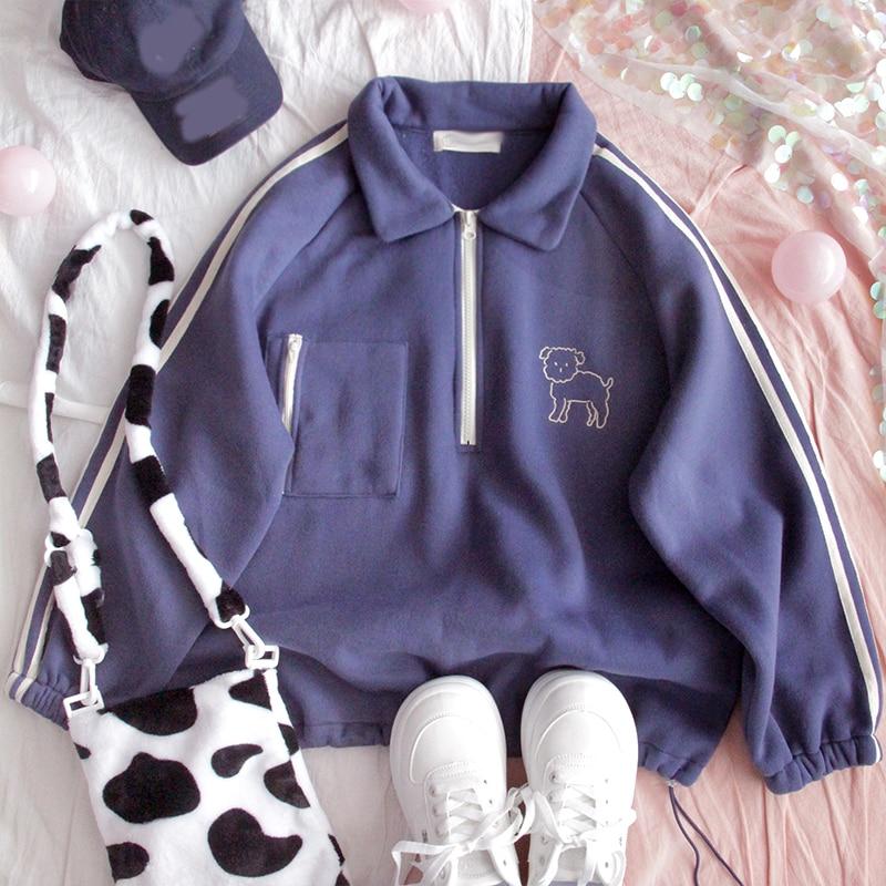 Autumn Plus Velvet Hoodie Teenage Girl Turn Down Collar Loose Student Harajuku Retro College Style Cute Soft Sister Sweatshirt