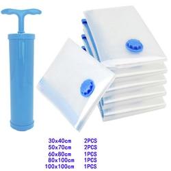 7PCS PE Vacuum Storage Bag Environmental Protection Material Transparent Folding Compressed Organizer Saving Space Seal Packet