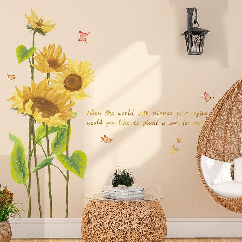 [SHIJUEHEZI] girasol pared pegatinas planta DIY pegatinas para pared de mariposas para vivir habitación niños dormitorio decoración de la casa 6 LEDs PIR Sensor de movimiento luz de noche Auto On/Off para dormitorio escaleras armario inalámbrico USB recargable lámpara de pared