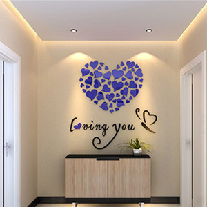Image 5 - Romantic DIY Art 3D Acrylic Love Heart Wall Stickers Bedroom Living Room wedding decoration wall stickers muraux wallpaper A3086