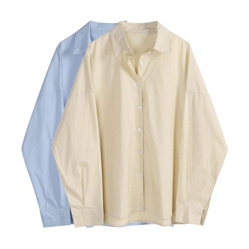 Женская блузка с длинным рукавом, однотонная Свободная блузка большого размера в простом Корейском стиле бойфренда, весна-осень 2021