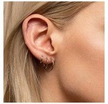 3 Pair Fashion Women Girl Trendy Set Hoop Earrings Big Smooth Circle Earrings Brand Loop Earrings Jewelry pair of trendy solid color circle long earrings for women