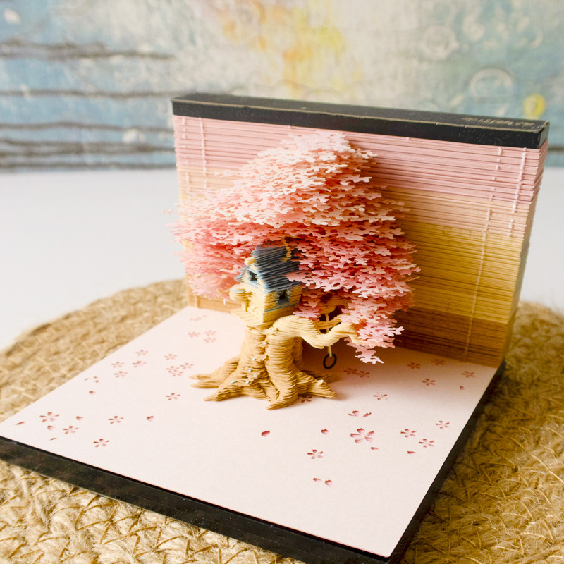 stationery post-it notes 3d tree House surprise creative birthday gift surprise lighting decorations scrapbooking скетчбук