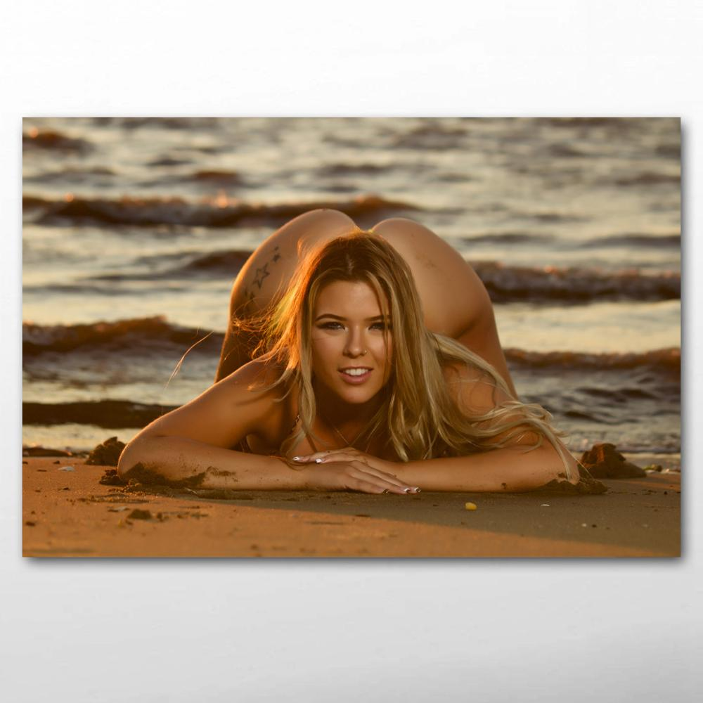 Blonde girl sexy model sea beach photo Decorative paintings Wall Art Posters and Prints Canvas Art For Room Decor 1