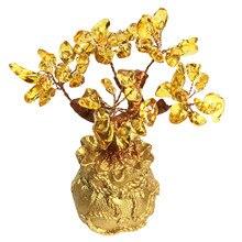 Feng shui citrino dinheiro árvore de cristal natural bonsai sorte planta pedra preciosa quartzo fortuna cristal árvore topper boa sorte decoração casa