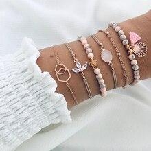 Yobest 6 unids/set Bohemian Tassel Beads Charm Bracelets Set para mujeres chicas moda piña corazón geométrico pulsera joyería