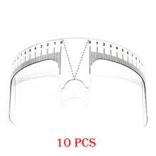 10 pcs 재사용 가능한 반 영구적 인 눈썹 눈금자 눈썹 측정 도구 눈썹 가이드 눈금자 microblading calliper 스텐실 메이크업 도구