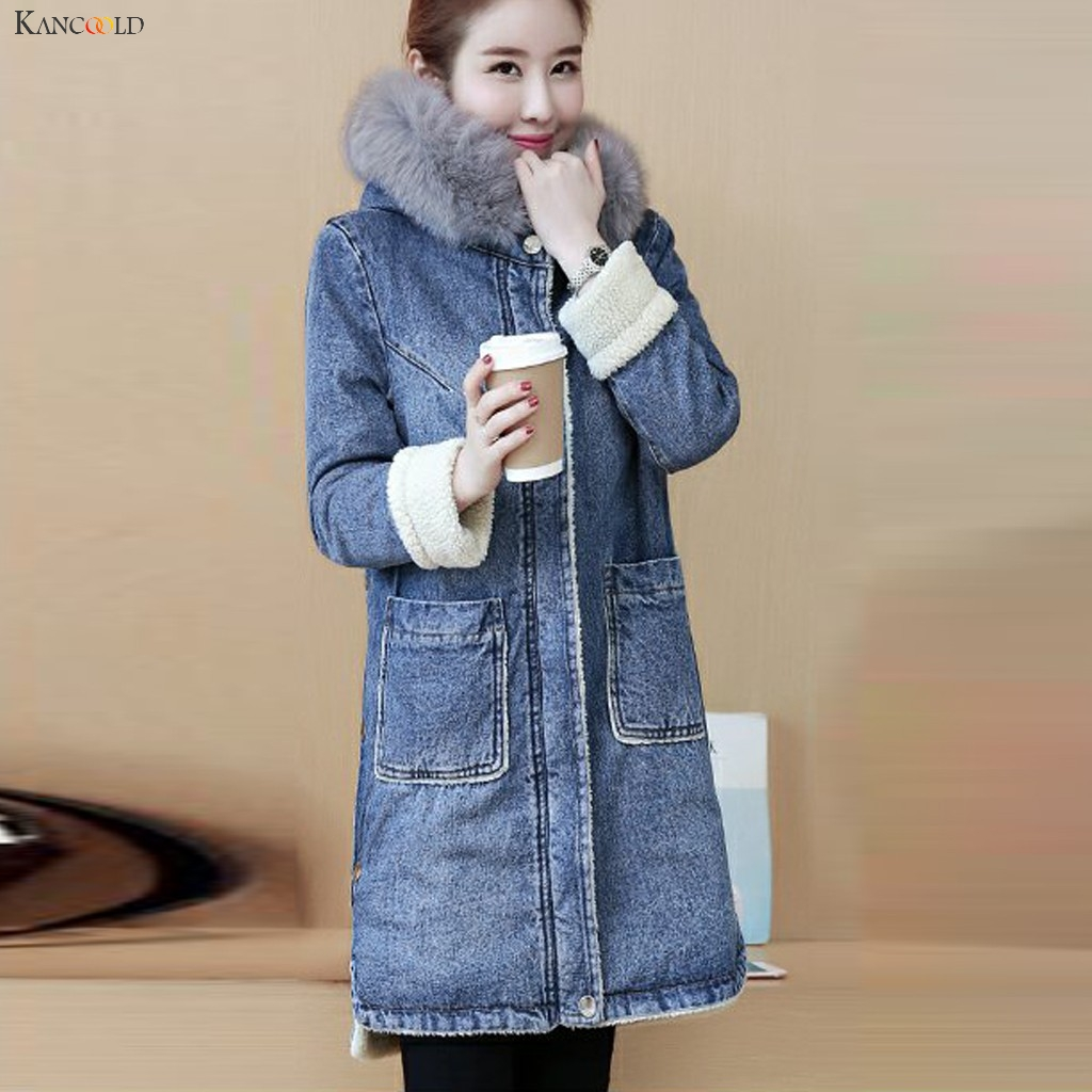 KANCOOLD Coats Winter Fashion Jeans Thickening Denim Hoodie Coat Long Sleeve Loose Pockets New Coats And Jackets Women 2019Oct10
