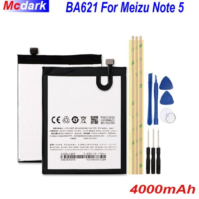 4000mAh BA621 לmeizu הערה 5 סוללה Batterie עבור Meizu meilan הערה 5 M5 הערה Bateria נייד טלפון Batterij מצבר + כלים