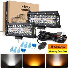 NAO LED 바 작업 조명 12V 24V 2 색 6 조명 스트로브 모드 4x4 액세서리 자동차 SUV 트럭에 대 한 도로 끄기 자동 Runinng 안개 램프