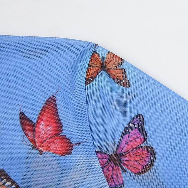 فراشة نسائية على الموضة بقماش شفاف شفاف تانك توب قصير أنثى سليم الصدرية تيز كاميس نادي حفلات البلوز تي شيرت
