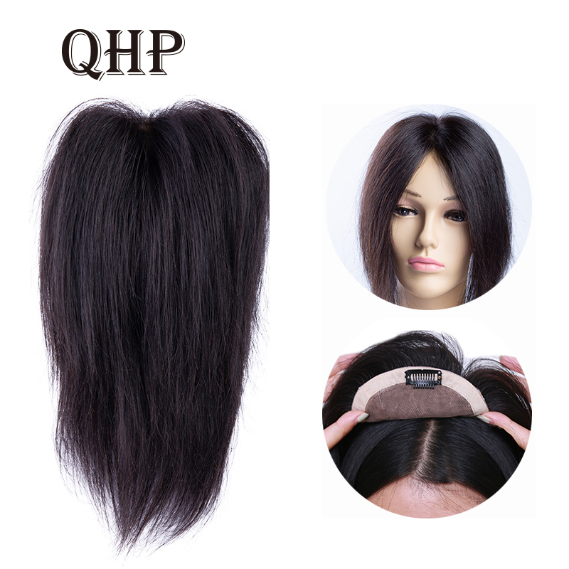 Straight LACE+PU Hair Topper Human Hair Toupee Hair For Women Black Color Remy Women Toupee With Double Knots