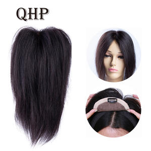Hair-Topper Toupee-Hair Women LACE Straight for Black-Color Remy with Double-Knots PU