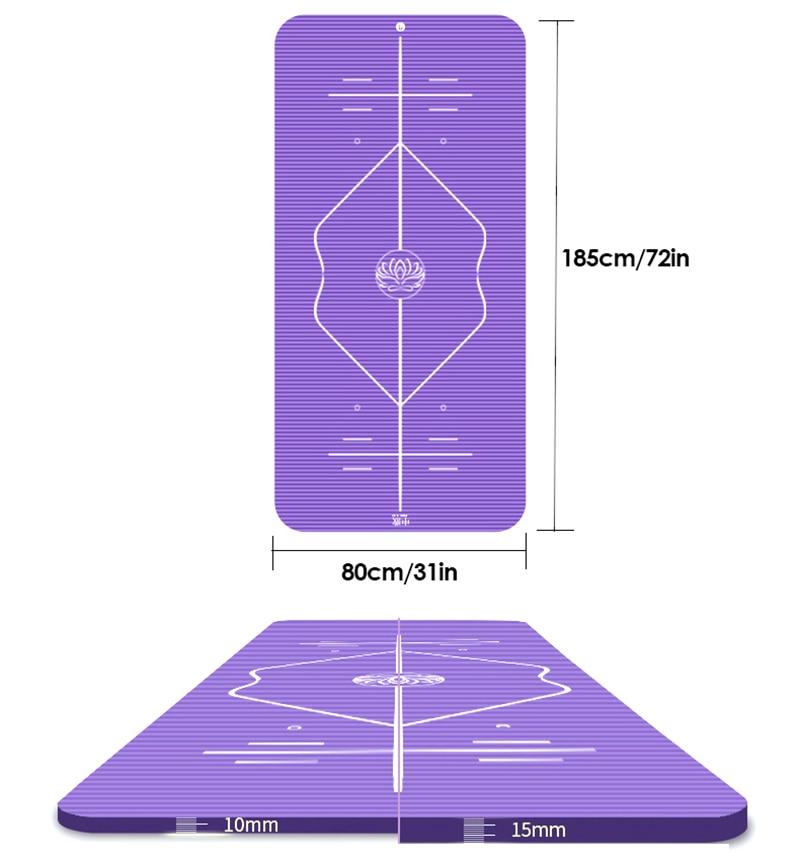 10mm Yoga Mat for Beginner with Position Line Non-slip Gym Yoga Mat Thicken Widen Men Women Yoga Exercise Dance Fitness Mat 12