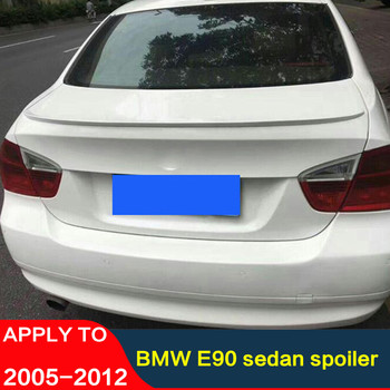 CEYUSOT for BMW E90 4door sedan spoiler 2005-2012 BMW 318i 320i 325i 335i car Trunk lip rear spoiler wing ABS material tail fin image