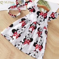 Одежда для маленьких девочек, летнее платье, платья для новорожденных с летящим рукавом, хлопковое платье с Минни + повязка на голову, платья...