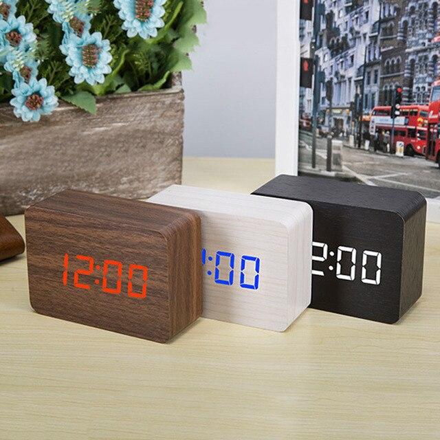 Digital Thermometer Alarm Clock Wooden LED Backlight Voice Control Retro Glow Watch Desktop Table Luminous Clock Home Decoration 4
