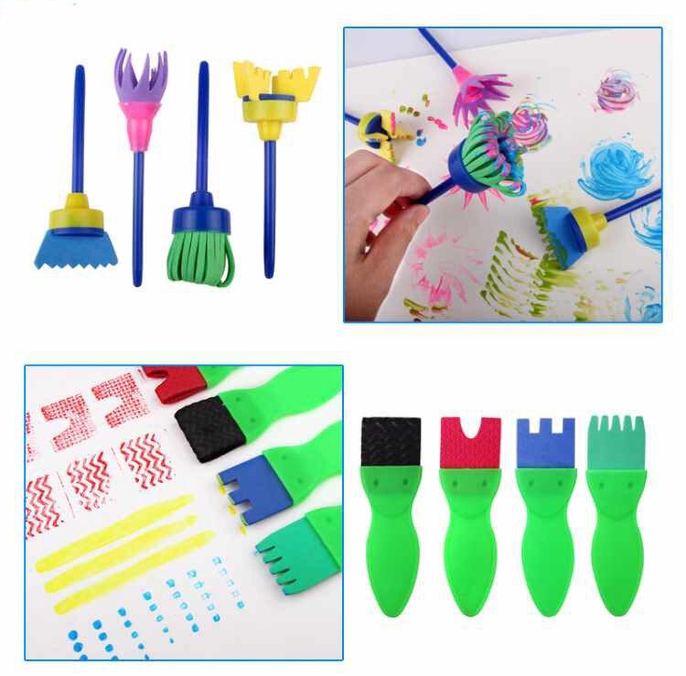 31 шт./компл. креативная губка щетка для детей Искусство DIY живопись инструменты для малышей смешной Красочный цветочный узор DIY Цветочный Рисунок Игрушки