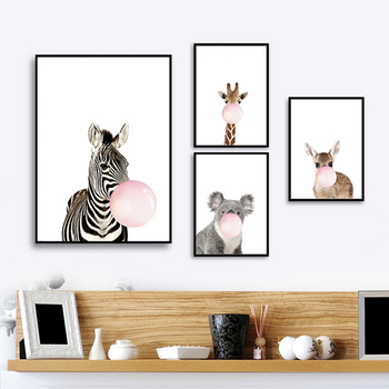 Baby Animal Zebra Girafe Canvas Poster Nursery Wall Art Print Painting Picture Nordic Children Bedroom Decoration Painting