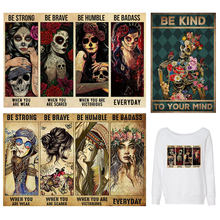 Patches For Clothes Aesthetic Girl DIY Thermal Sticker On Clothes Punk Skull Thermal Sticker Print On T-shir Heat Transfer Vinyl