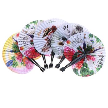 1 sztuka składany papier wentylatory ręczne składane wentylatory kreatywny Retro wiatrak małe okrągłe papierowe wentylatory w stylu chińskim wentylator ręczny ślub tanie i dobre opinie CN (pochodzenie) Z tworzywa sztucznego PRINTED