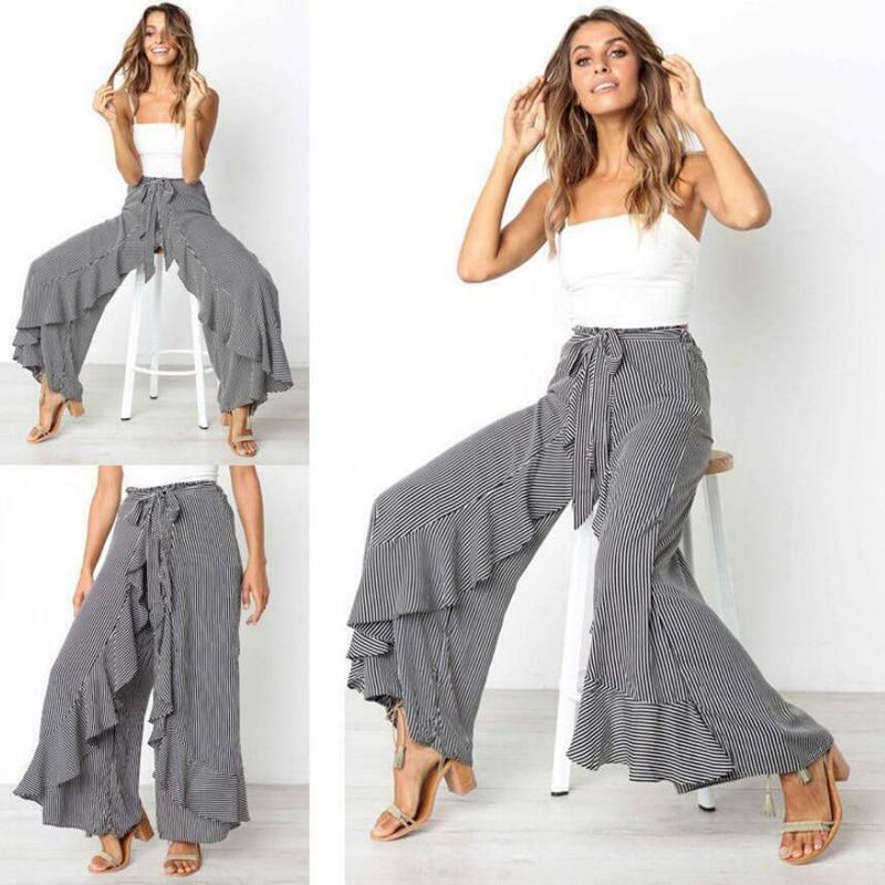 Womens Boho Floral Long Pants Palazzo Wide Leg Loose Baggy Harem Trousers Gray Falre Pants Dancing  Robe Femme