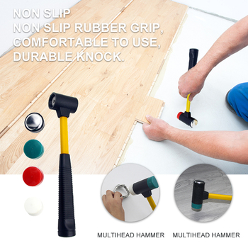4 In 1 Home Interchangeable Head Non Slip Multifunctional DIY Portable Shock Absorbing Comfortable Hand Tool Multihead Hammer image