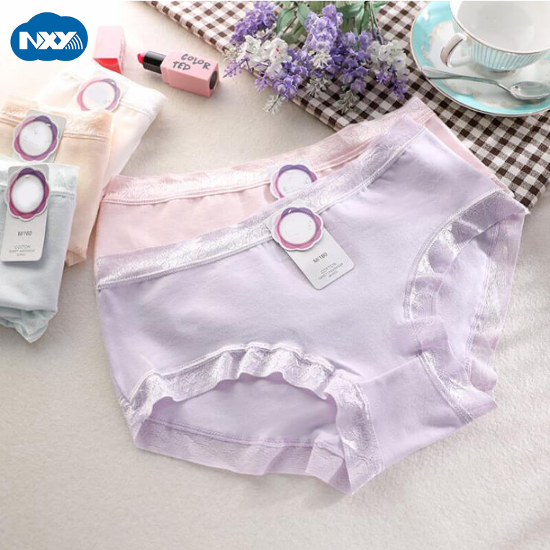 Seamless Panties Women Underwear Briefs 3pcs/pack Cotton Lace Ladies Underpants Women's Intimates Pink Knickers XL Culotte Femme