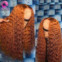 Orange Perücke Ingwer Spitze Vorne Perücke 4x4 Spitze Schließung Perücke Farbige Lockiges Menschliches Haar Perücken Für Frauen HD transparent Spitze Frontal Perücke