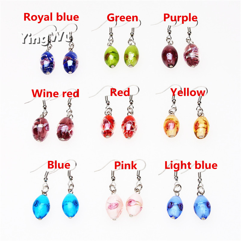 Yingwu Wholesale Handmade Murano Lampwork Glass Mix Color Women's Flower Glass Earrings Hot Christmas Gift