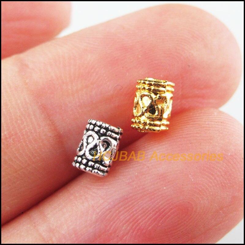 100 шт. Ретро, тибетский серебряный тон цвета: золотистый, Цвет тисненных туб Spacer Бусины 5 мм