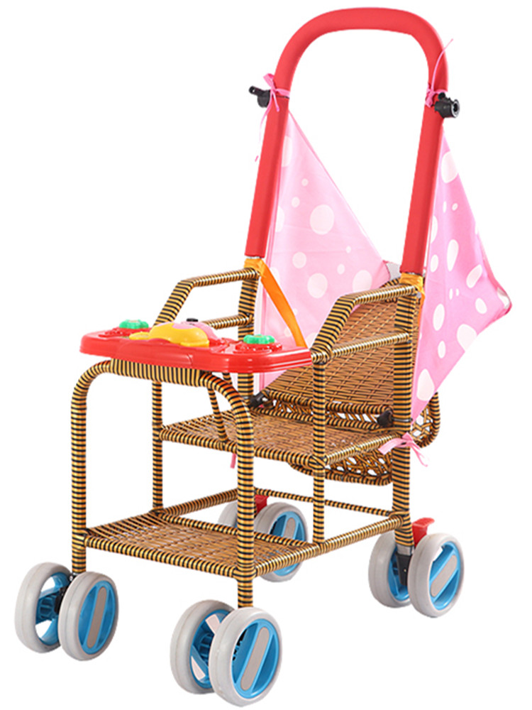 Baby Bamboo Rattan Trolley Portable Child Rattan Chair Rattan Woven Bamboo Trolley Rattan-like Baby Stroller Can Lie In Summer