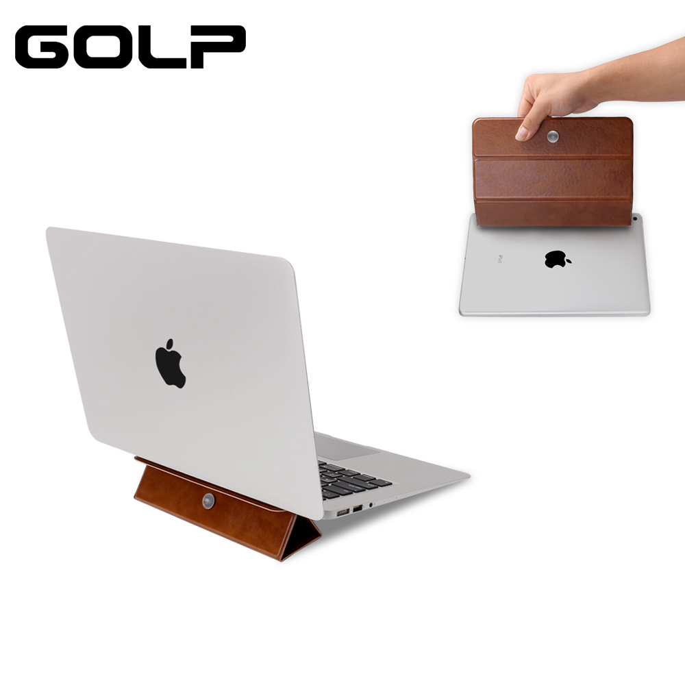 Adjustable Laptop Stand For Macbook, Folding Magnetic Phone Holder PU Leather Portable Tablet Stand For IPad Mini  5 4 3 2 1