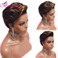 Bouncing Peruvian Remy Lace Front Human Hair Wig Short Cut Pixie Wigs Customized 1B/30 Wigs 150 Density Silky Straight Hair Wigs