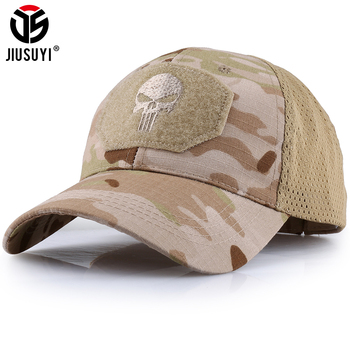 цена на Military Skull Baseball Caps Ghost Camouflage Tactical Army Combat Paintball Adjustable Cap Classic Snapback Sun Hat Men Fashion