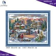 الفرح الأحد عيد الميلاد التطريز DIY F771 14CT 11CT عد و مختوم ديكور المنزل كنز الوقت عيد الميلاد عبر عدة خياطة