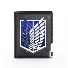 Классический кошелек из искусственной кожи с принтом «атака на Титанов» для мужчин и женщин, двойной держатель для кредитных карт, короткий...