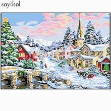 Diy картина маслом по номерам пейзаж зимний Снежный Дом diy