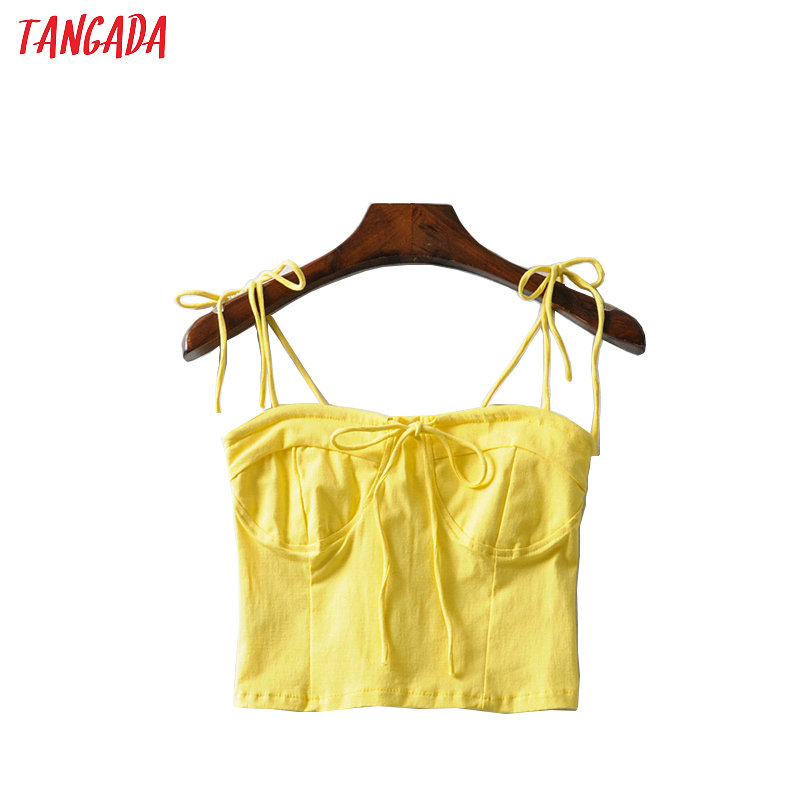 Tangada Women Yellow White Tops Sexy Strethy Tanks Strappy Backless Camisole Short Tops 2020 Summer Camis 2A09
